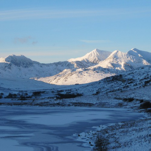 View of the Snowdon Horseshoe in winter taken from Plas y Brenin