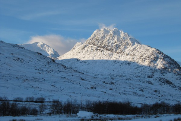 View of Tryfan in winter