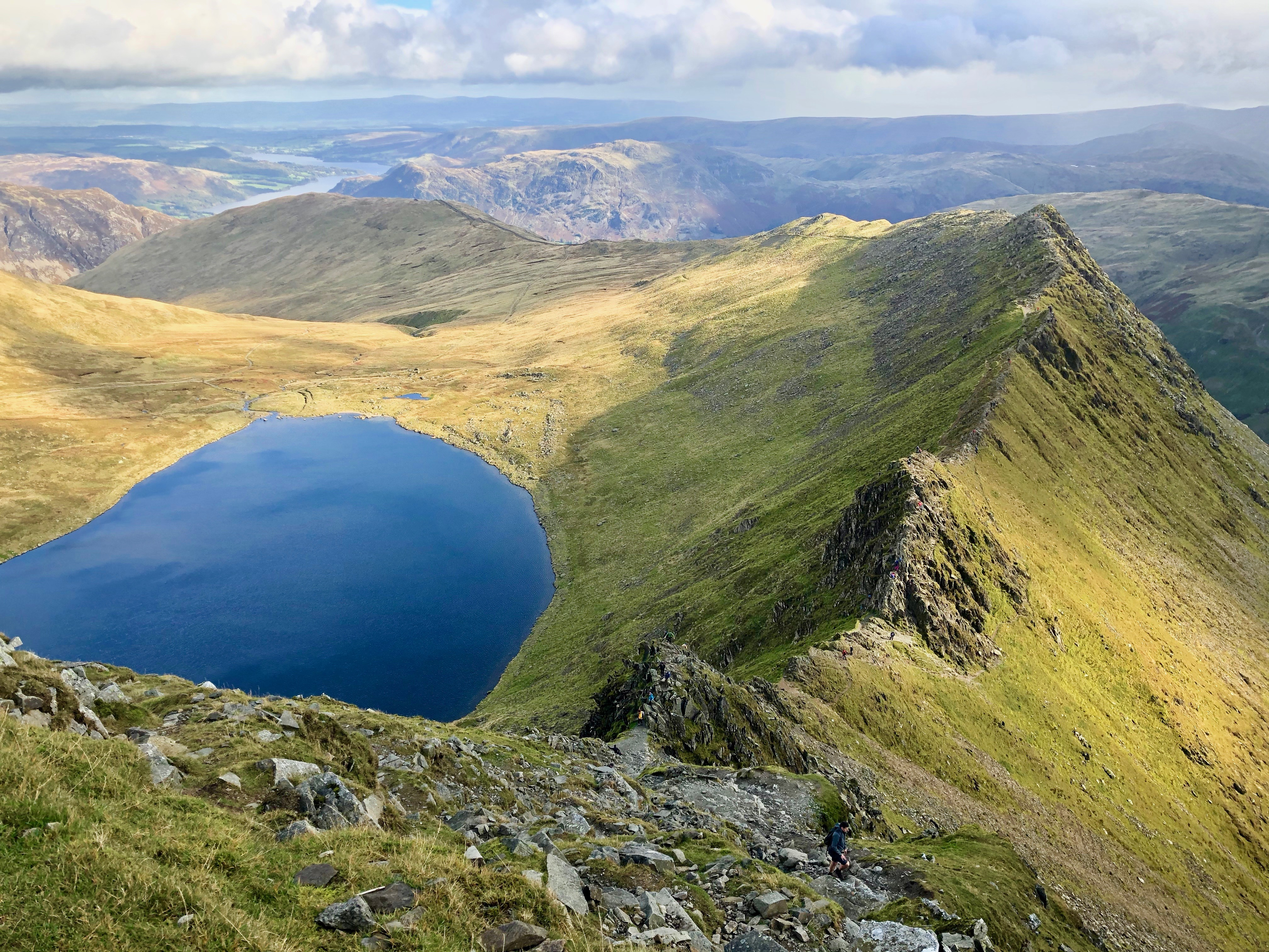 A view of Striding Edge from the top of Helvellyn
