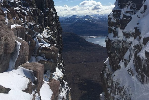Looking down the Eag Dubh - the great Black Cleft of Beinn Alligin