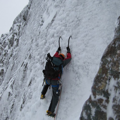 Climbing an ice pitch on Sickle, Ben Nevis
