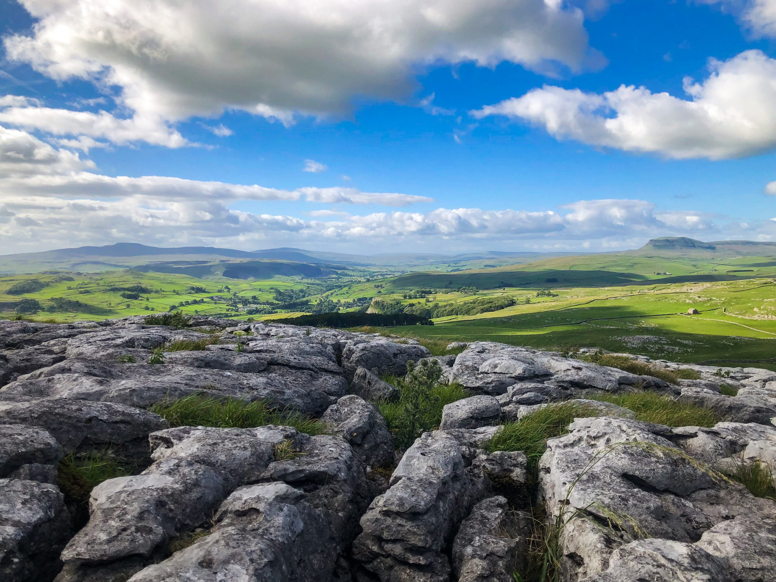 The Yorkshire Three Peaks, will all three peaks visible - Ingleborough, Whernside and Pen y Ghent