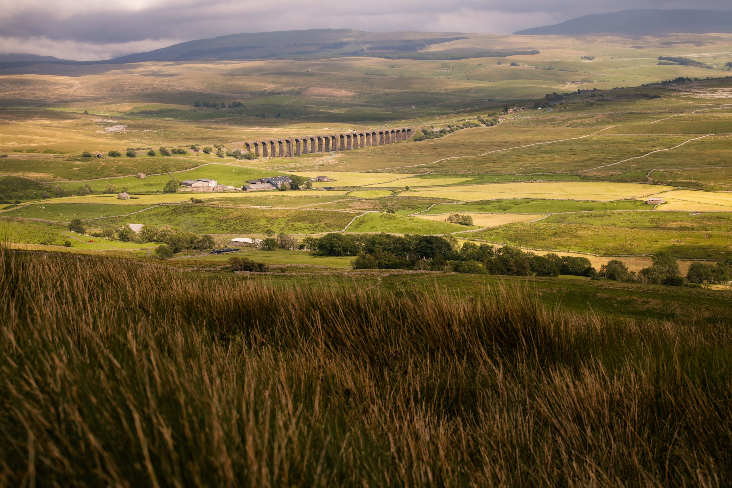 Looking down the side of Whernside towards Ribblehead Viaduct, illuminated by the late afternoon sunshine