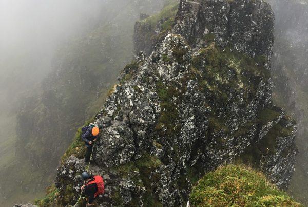 Scrambling the Aonach Eagach ridge in Glencoe on a guided scramble in Scotland