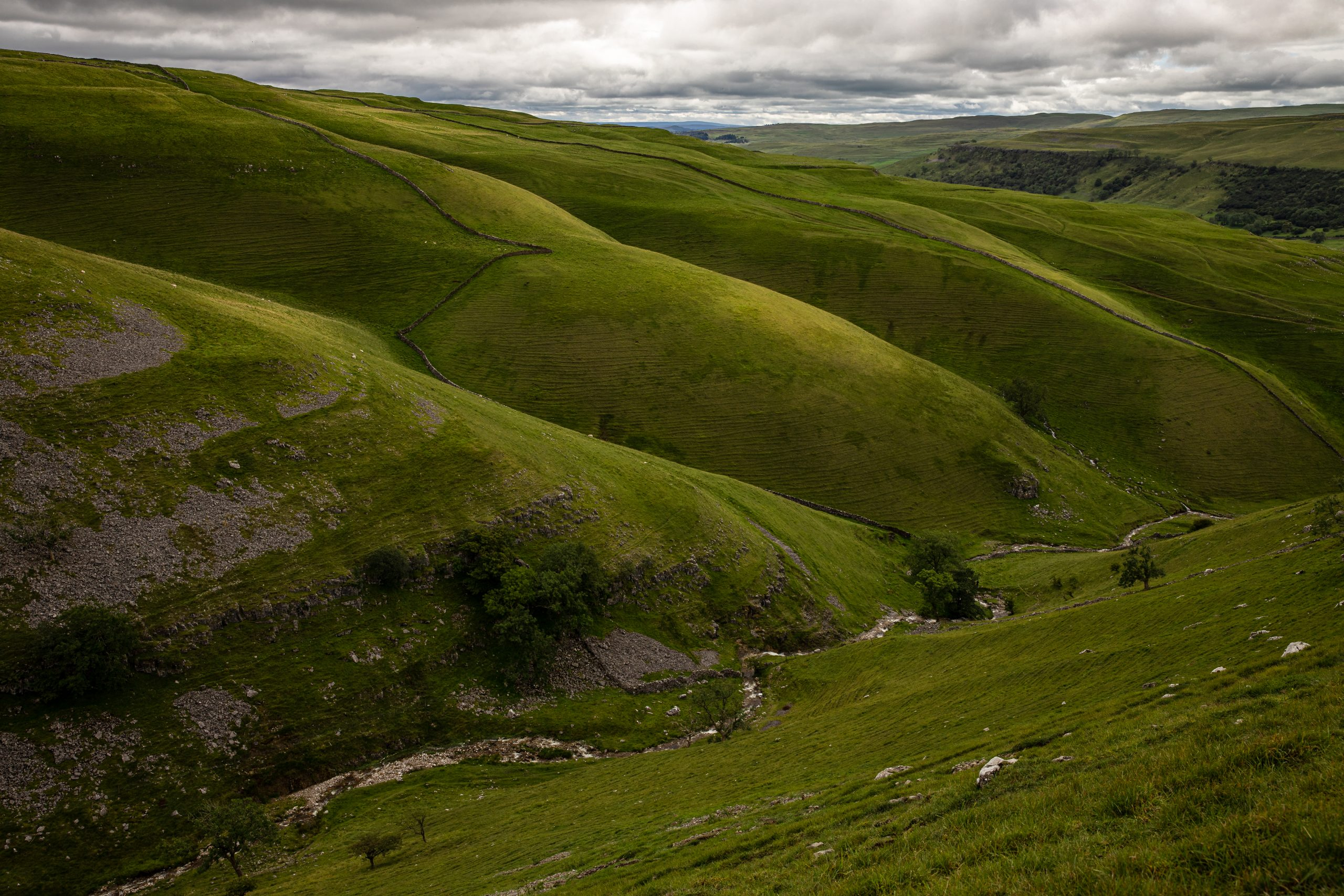 Prominent ridge lines and valleys seen near Hag Dyke on Great Whernside in Wharfedale in the Yorkshire Dales