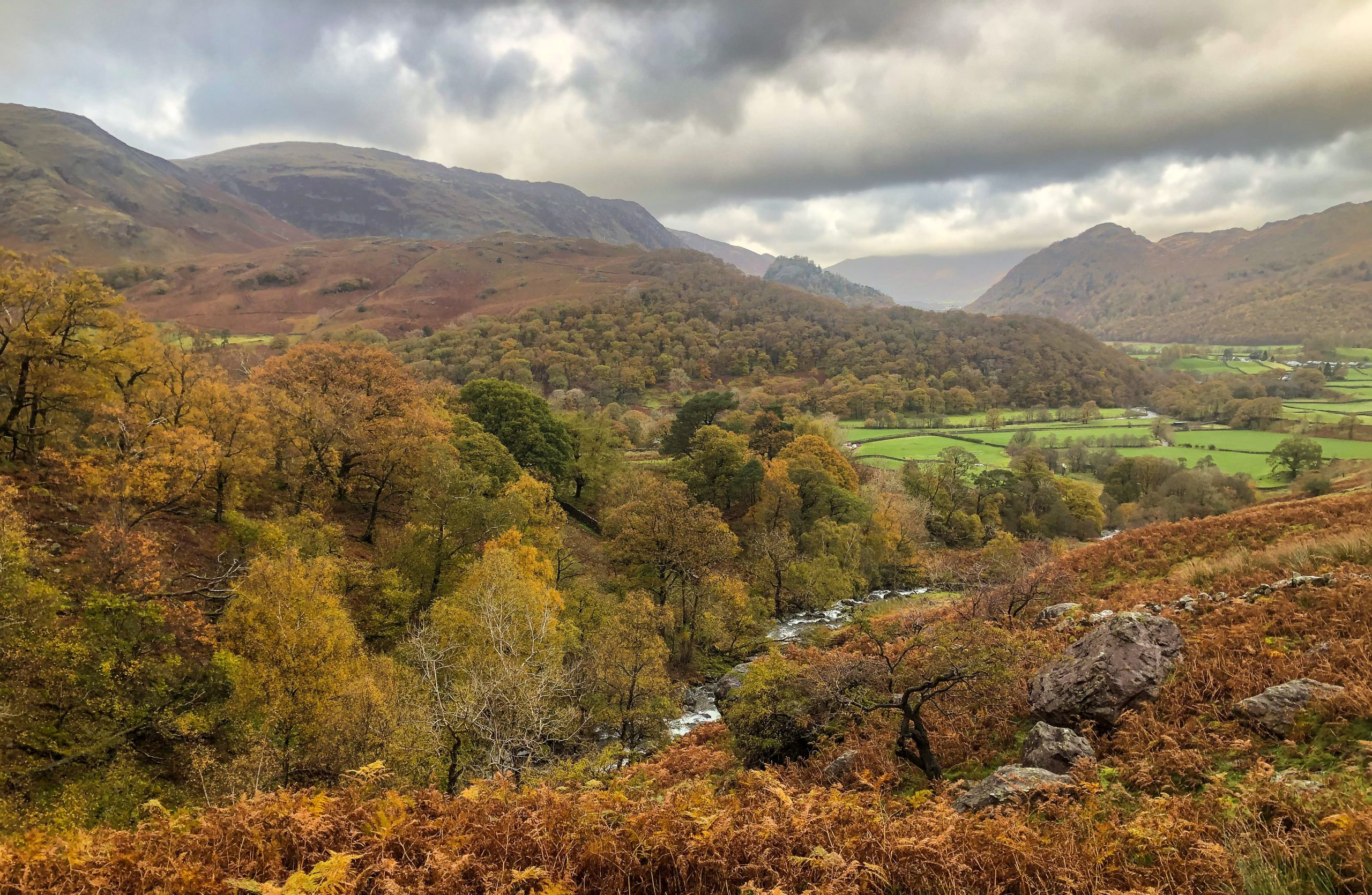 A view of Borrowdale in the autumn during a guided walk in the Lake District