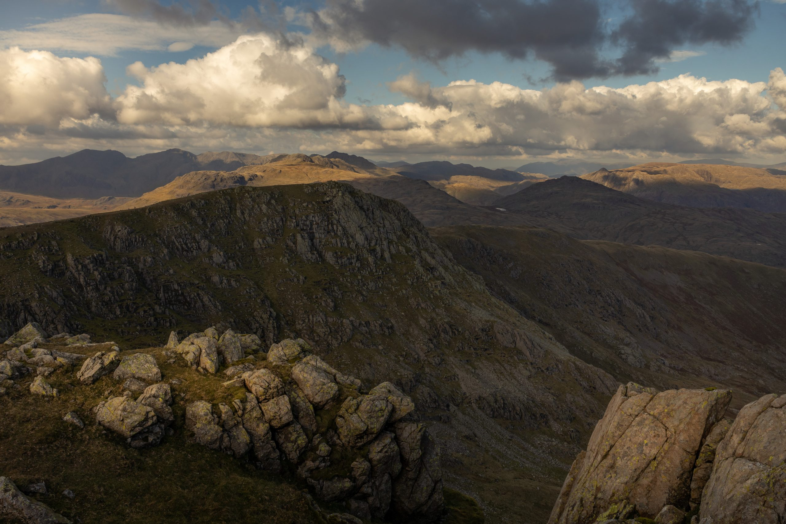 All of the Central Fells seen from Swirl How near the Old Man of Coniston