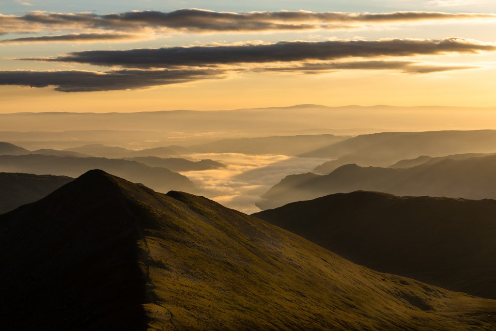 A cloud inversion over Ullswater seen from Helvellyn during a guided walk in the Lake District