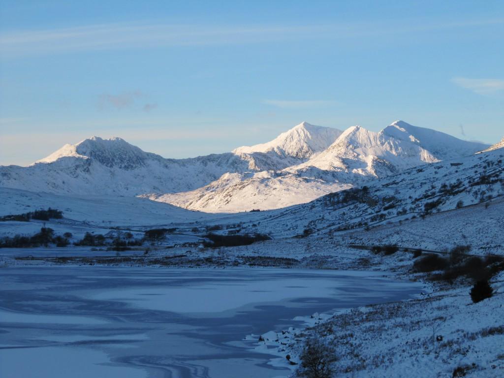 View of the Snowdon Horseshoe in winter taken from Plas y Brenin