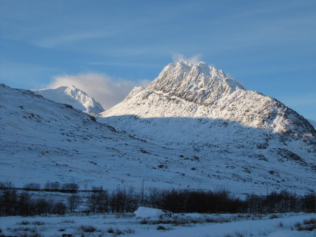 View of Tryfan in winter