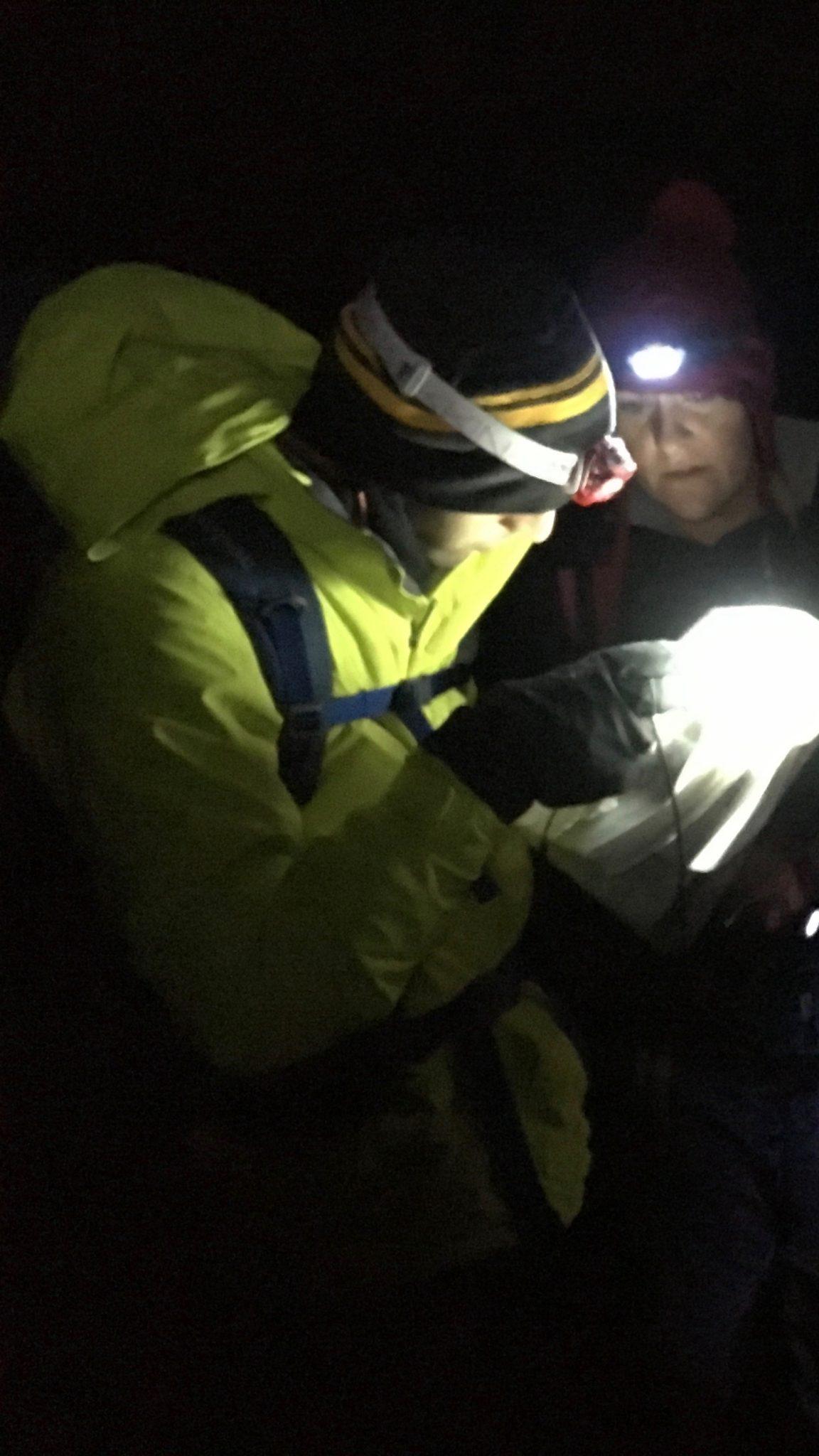 Practising night navigation on an NNAS navigation course
