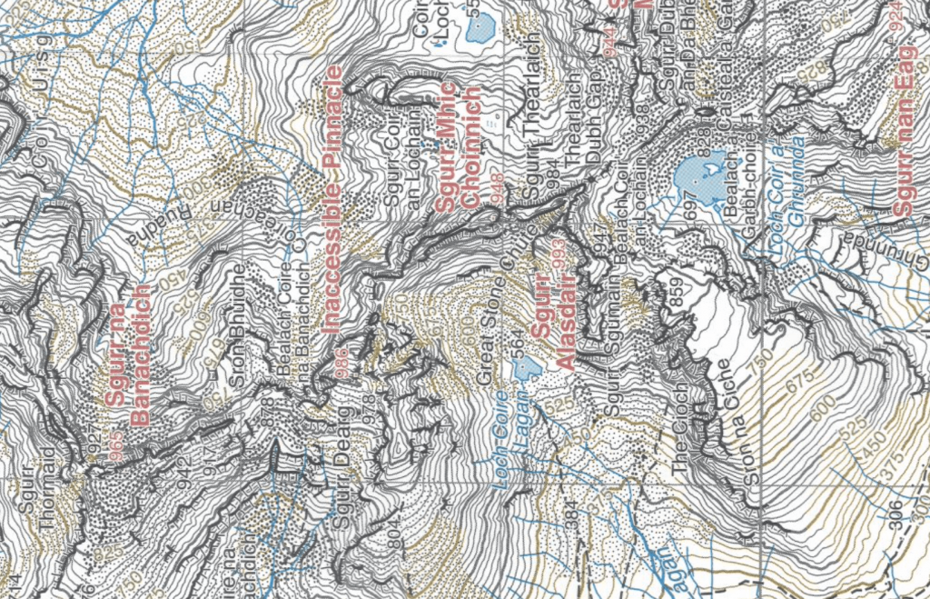 Harvey's 1:25,000 map showing the area of the Cuillin close to the Inaccessible Pinnacle