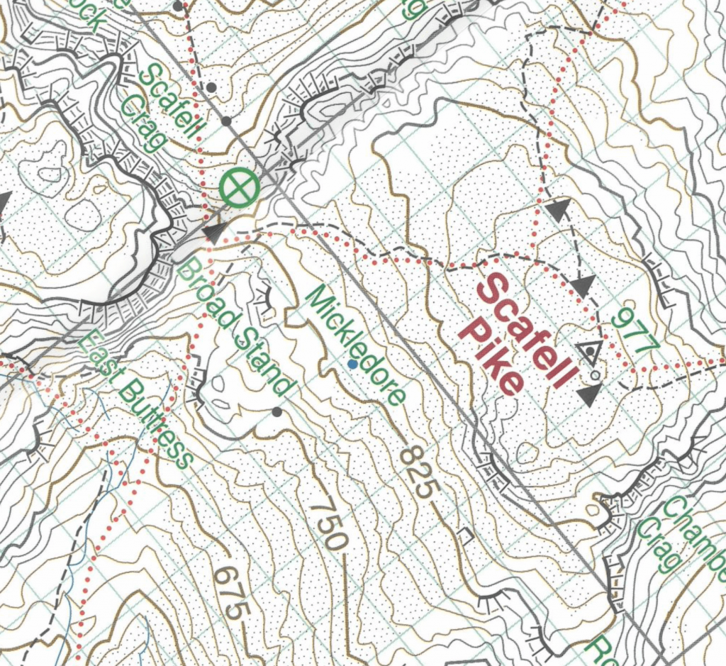 Harvey's 1:12,500 map showing Mickledore, the col or saddle between Scafell and Scafell Pike in the Lake District