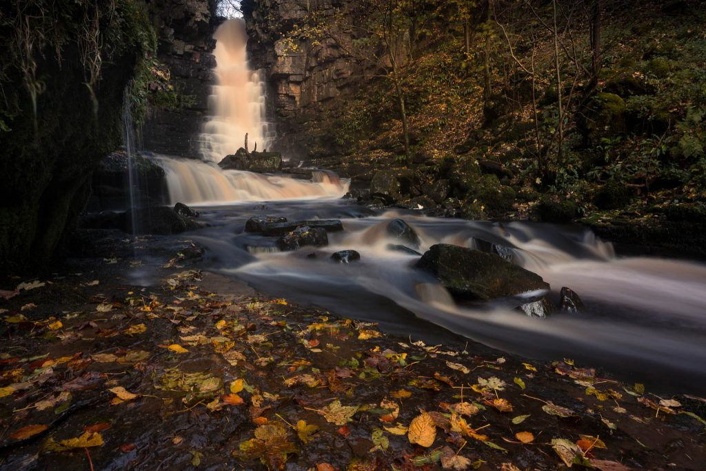 Mill Gill Force waterfall in full flow during a guided walk in the Yorkshire Dales