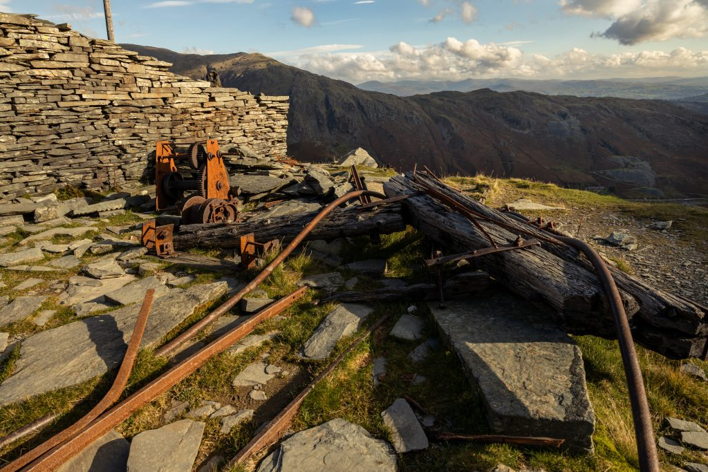 Old Mining machinery on the route up to Coniston Old Man from the Coppermines Valley