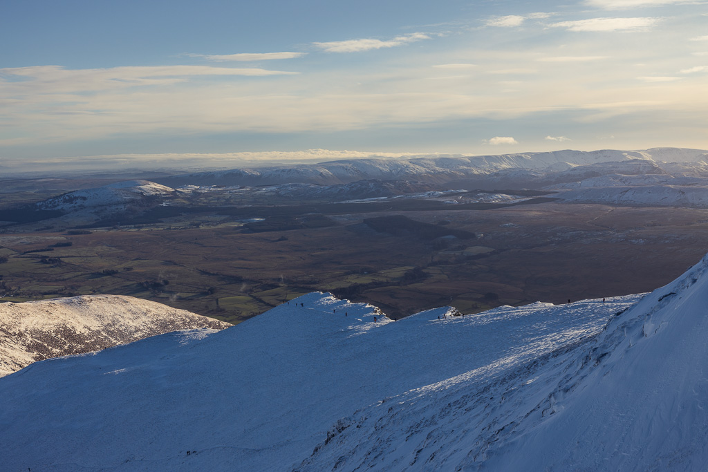 The route up to Blencathra from Scales in the Lake District - one of the easier walks to do in winter.