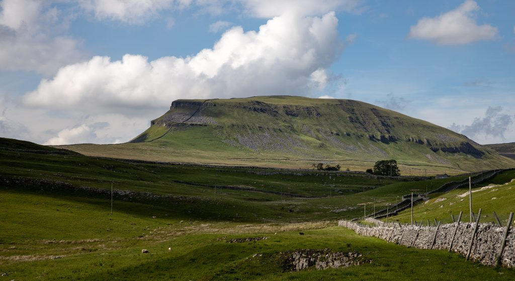 The steep rocky sides of Pen y Ghent, usually the first hill climbed on the Yorkshire Three Peaks challenge