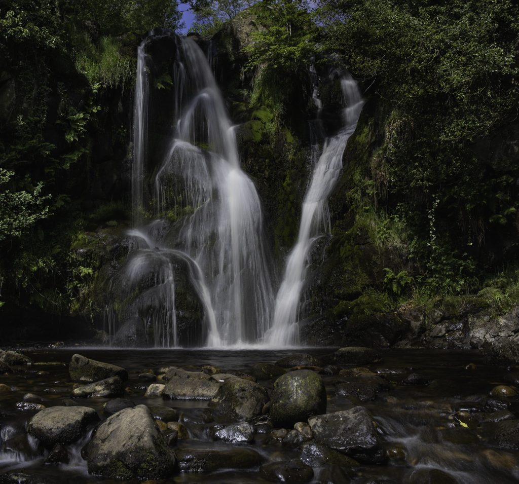 The beautiful waterfall of Posforth Gill in the Valley of Desolation in the Yorkshire Dales