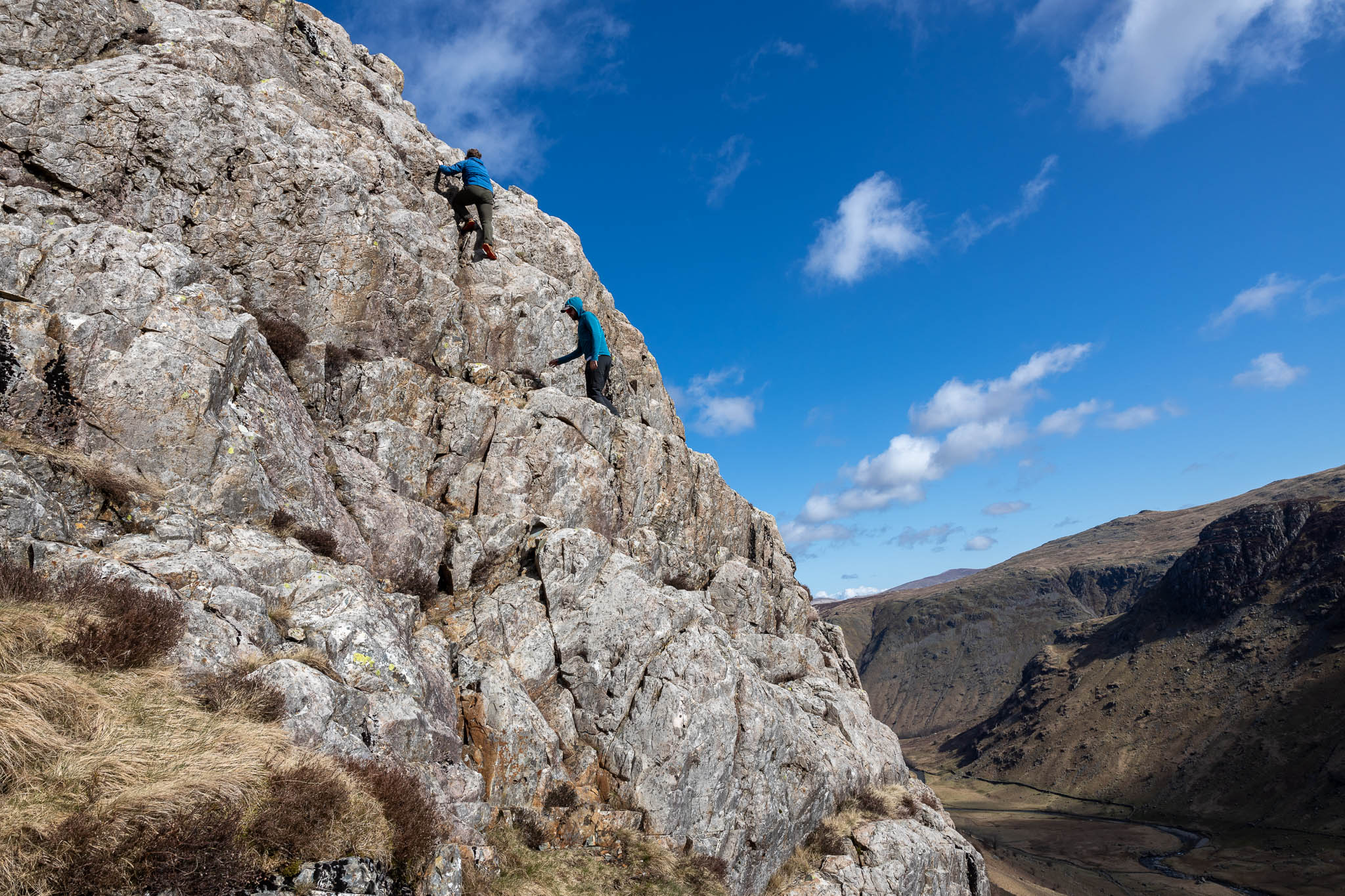 Scramblers on the middle section of Cam Crag Ridge