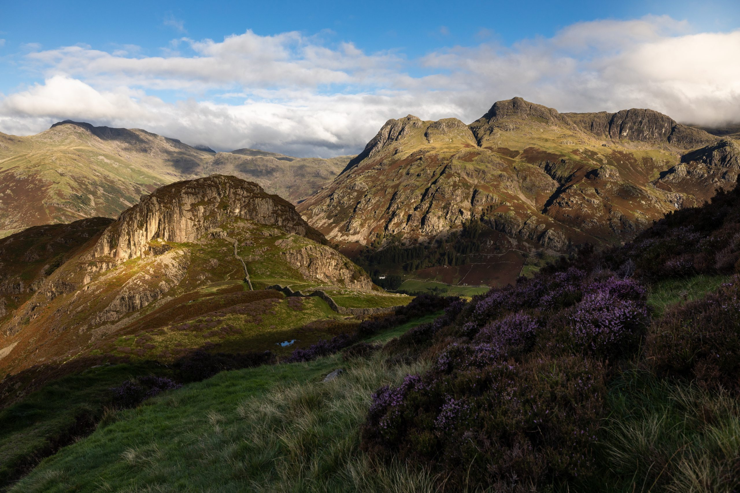 A view of Side Pike and the Langdale Pikes in the early morning sunlight in the Lake District
