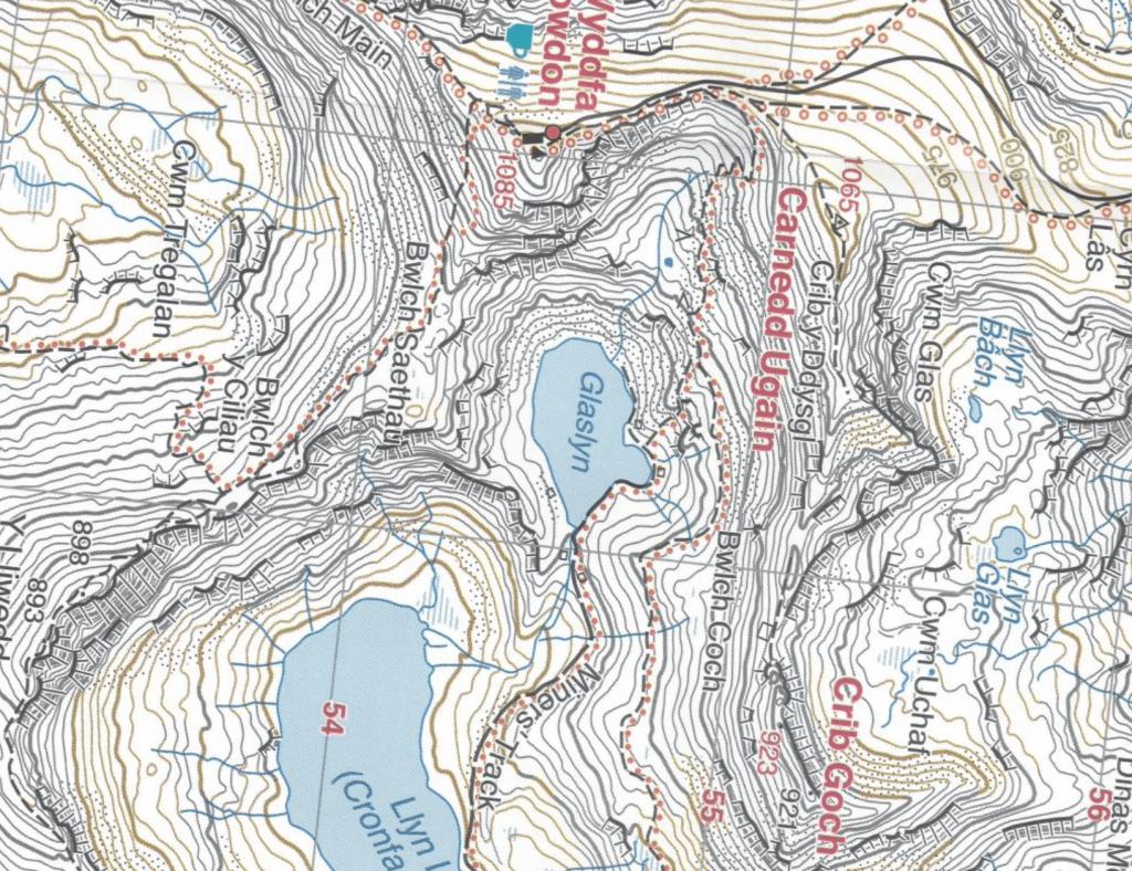 Harvey's 1:25,000 map showing Bwlch Ciliau, the col between Snowdon and Y Lliwedd in Snowdonia