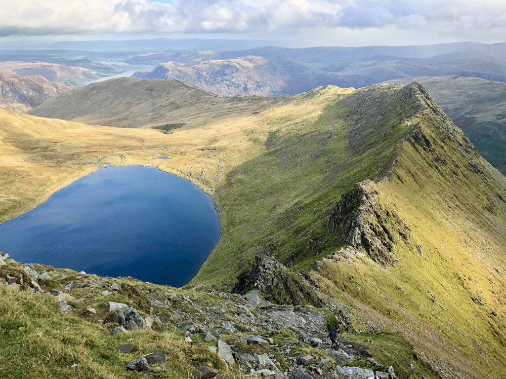 A view of Striding Edge from the top of Helvellyn on a guided scrambling day