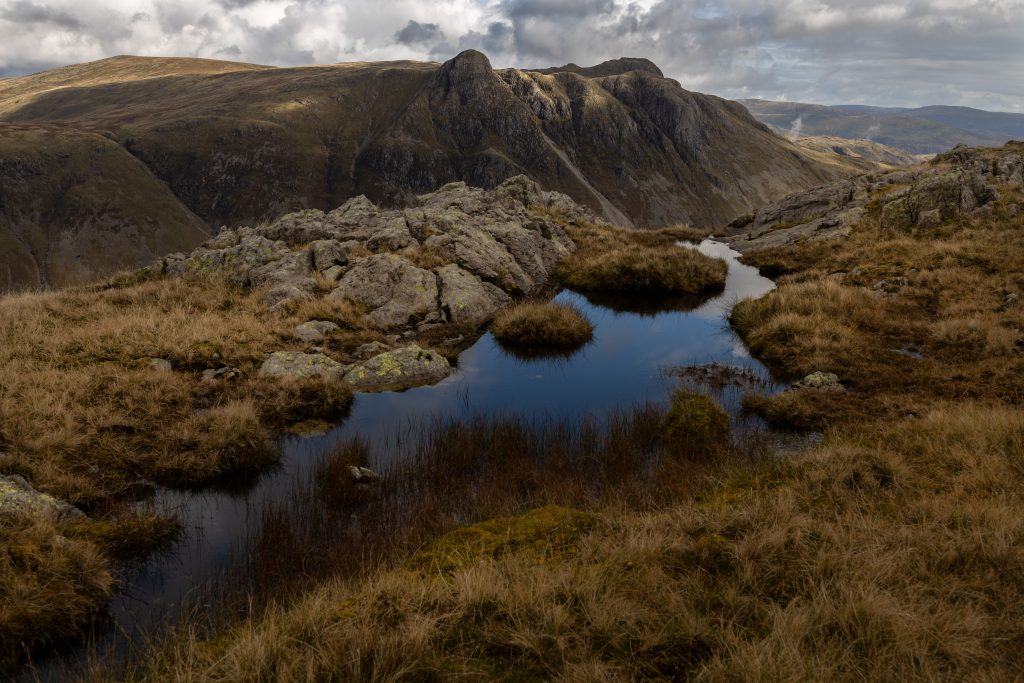 The Langdale Pikes seen from the Band, on Bowfell during a guided walk in the Lake District