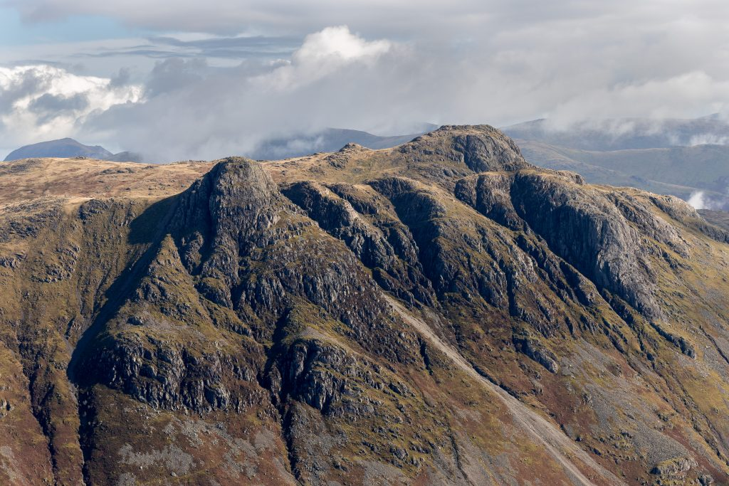 The Langdale Pikes seen from the Band, on Bowfell in the Lake District