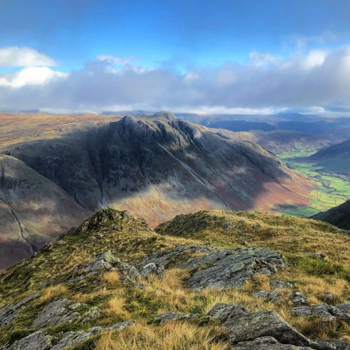 The Langdale Pikes seen from Bowfell on a guided mountain walk in the Lake District