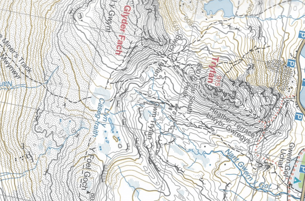 Harvey's 1:25,000 map showing Bwlch Tryfan, the col or saddle between Tryfan and Glyder Fach in Snowdonia