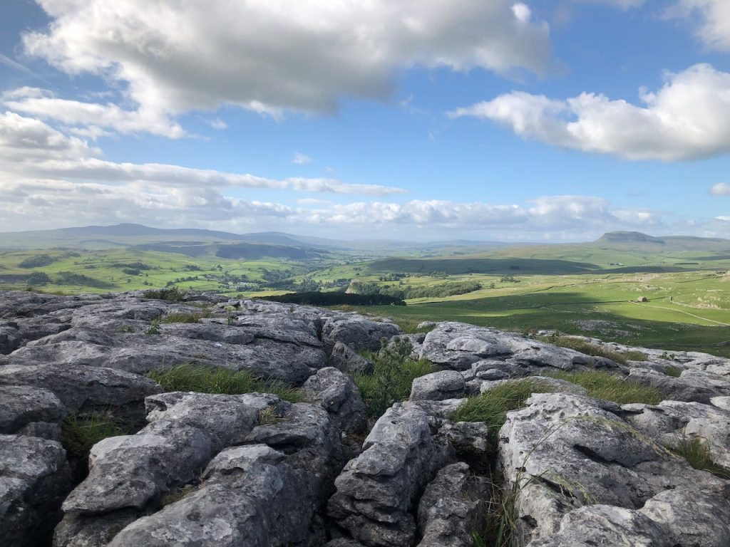 A stunning view from Warrendale Knotts. All three of the Yorkshire Three Peaks (Y3P) are visible - Ingleborough, Whernside and Pen y Ghent