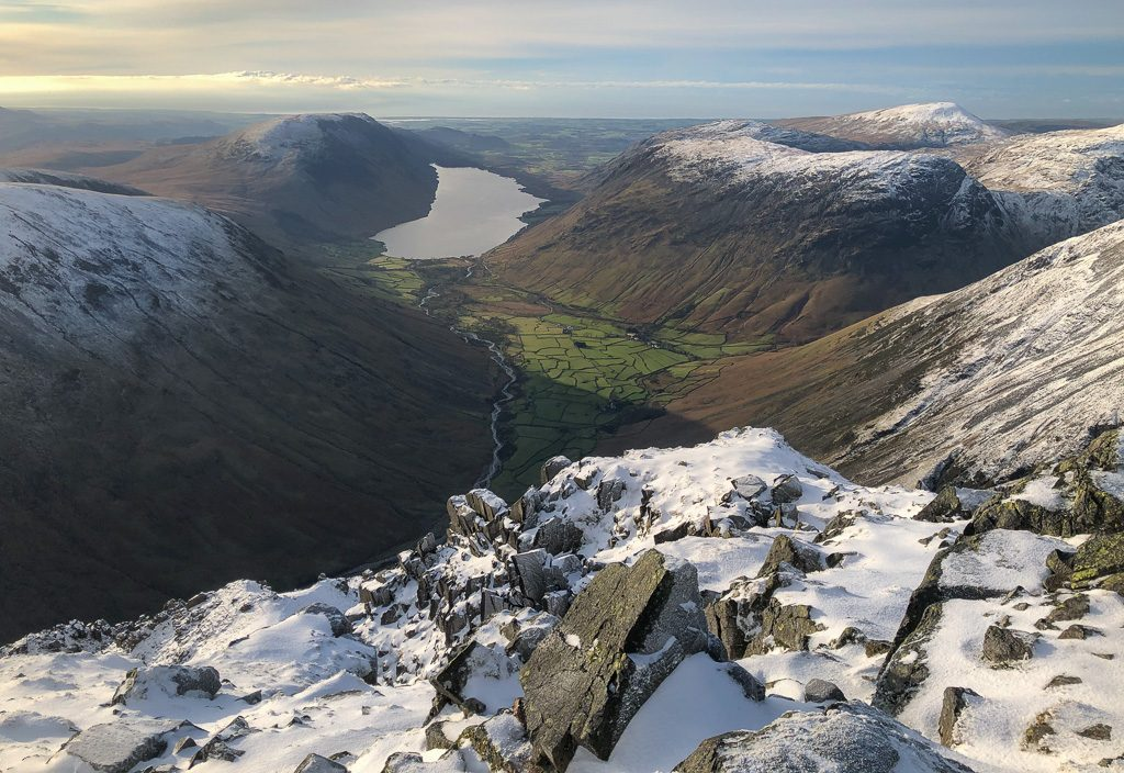 The view over Wasdale from Great Gable in winter