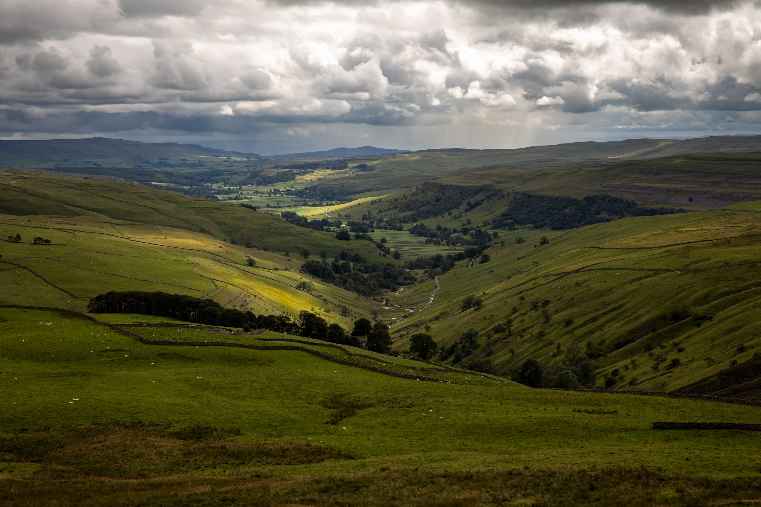The view over Wharfedale near Kettelwell seen on the descent from Great Whernside in the Yorkshire Dales