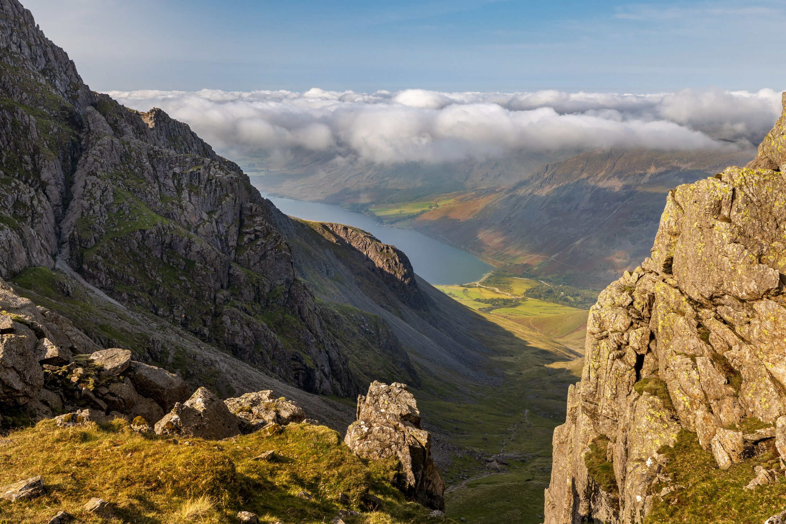 The view from Mickledore down to Wasdale Head during a guided walk up Scafell Pike in the Lake District