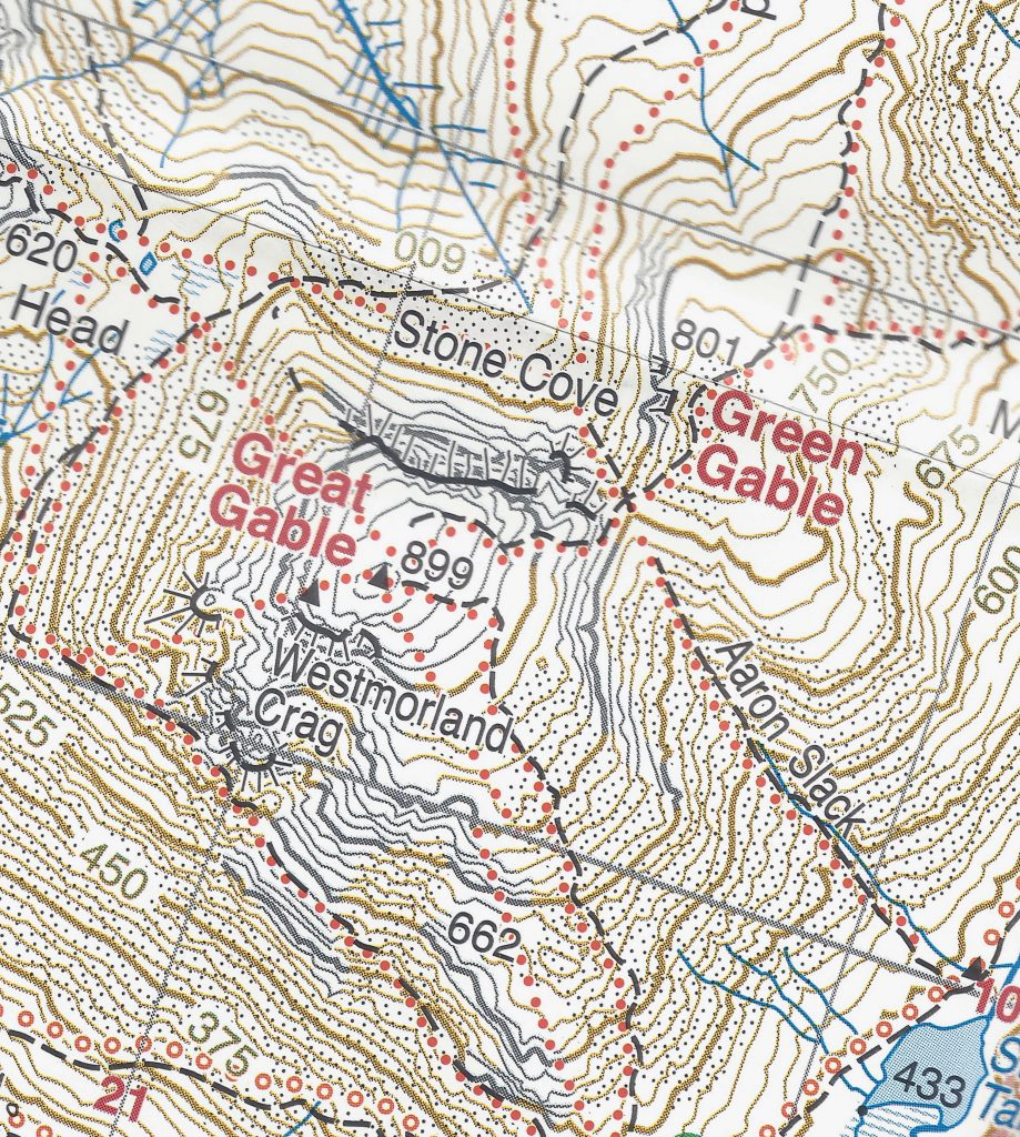 Harvey's 1:25,000 map showing Windy Gap, the col or saddle between Great Gable and Green Gable in the Lake District