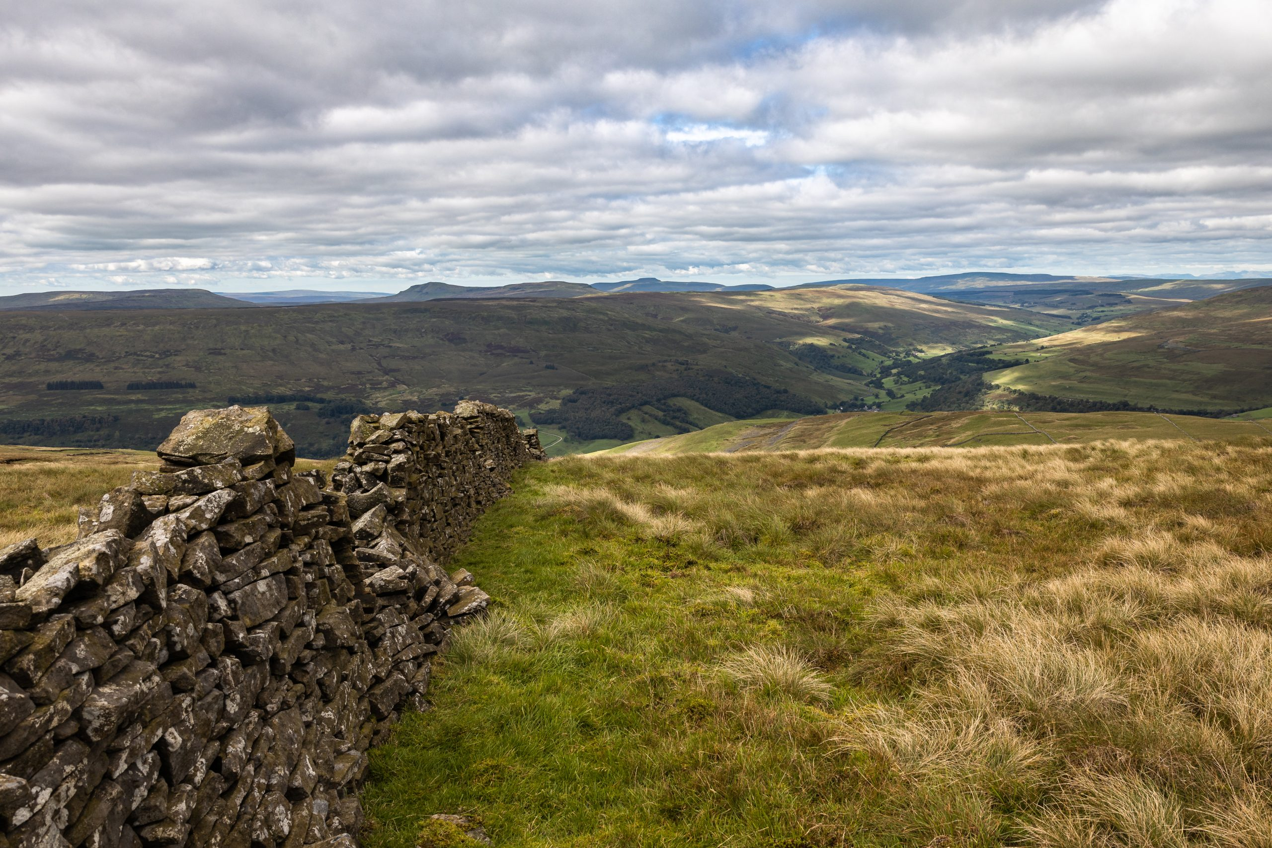 All three of the Yorkshire Three Peaks seen from Bucken Pike on a guided walk in the Yorkshire Dales.